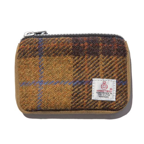 [디얼스] HARRIS TWEED CARD ZIP WALLET - MUSTARD